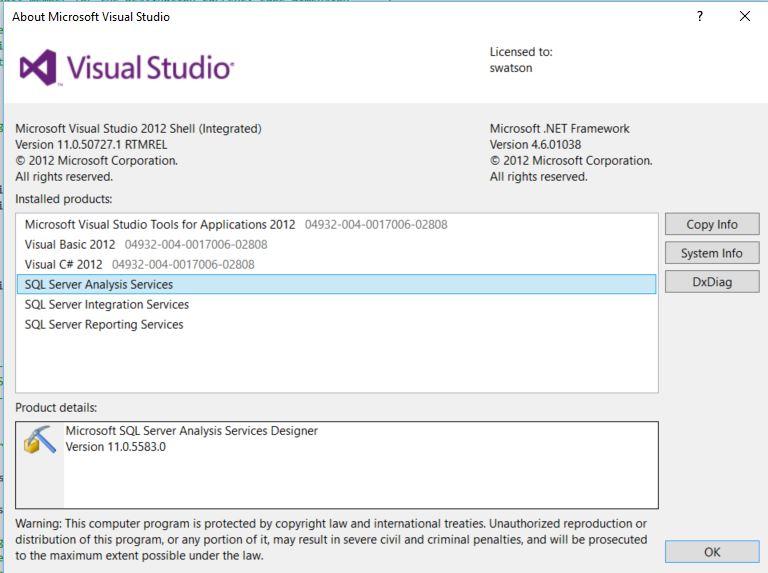 SSDT_VS2012_Version_Info