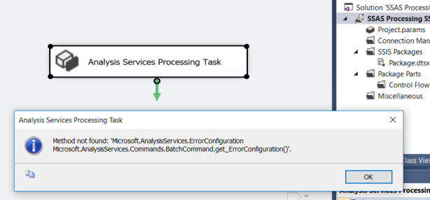 Analysis Services Processing SSIS Task in SSDT 2015/2017 fails when