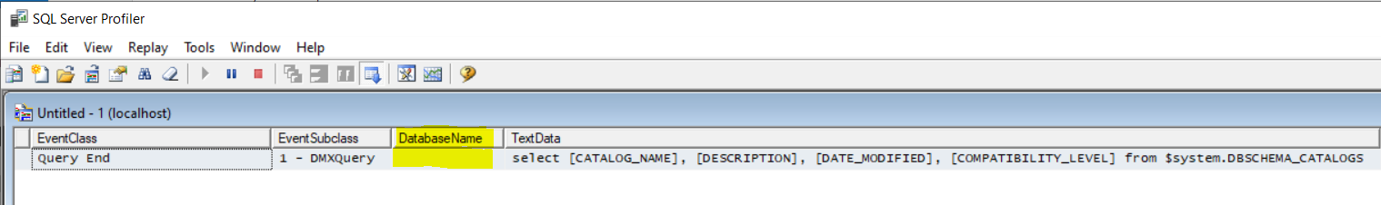 Query Profiler With One Empty Scripted database and AdventureWorks added and AutoDetectDefaultCatalogSetToFalse