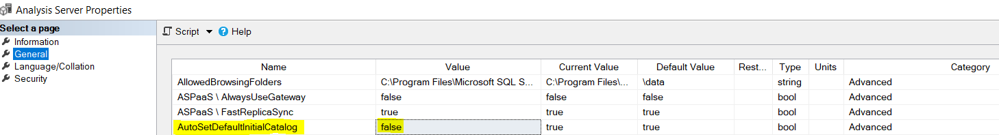 SSAS Server Properties AutoSetDefaultInitialCatalog Set To False